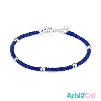 AchiCat 蠶絲蠟繩手鍊 925純銀 五福臨門(深藍)