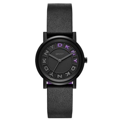 DKNY 摩登熠光時尚腕錶-黑x紫x皮帶/34mm
