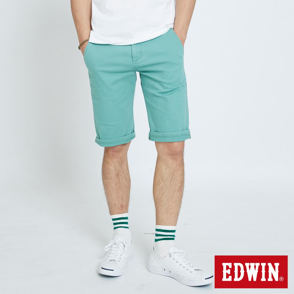 EDWIN 基本鈄袋休閒短褲-男-灰綠色