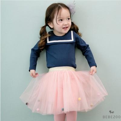 BEBEZOO 韓國 海軍藍上衣粉紅球球紗裙內搭褲套裝2件組