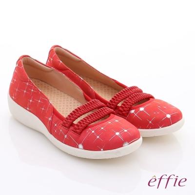 effie 挺麗氣墊 真皮絨面鬆緊帶奈米氣墊鞋 紅色