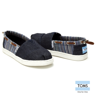 TOMS 條紋拼接懶人鞋-孩童款