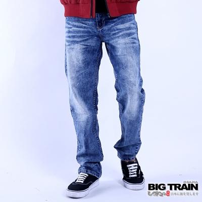 BIG TRAIN 後袋鯉魚直筒褲-男-淺藍