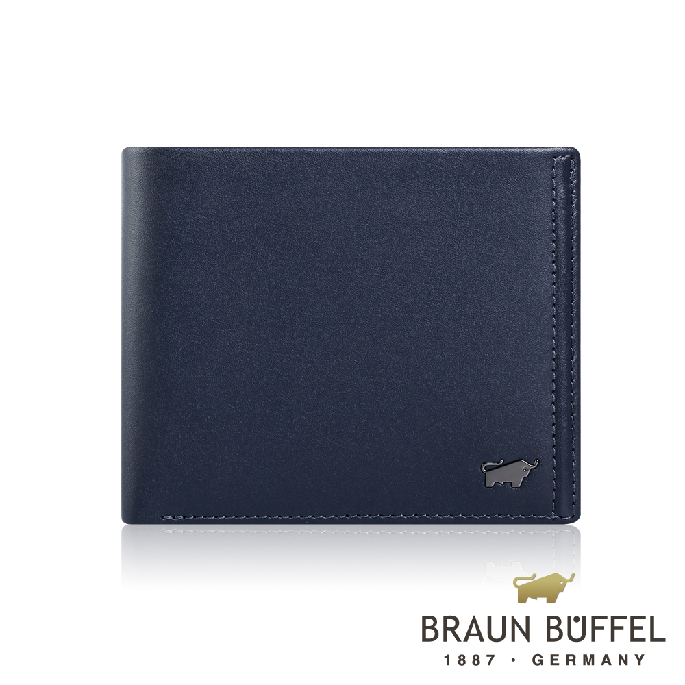 BRAUN BUFFEL 德國小金牛 -ANDRO 安卓系列4卡零錢袋皮夾 - 海軍藍