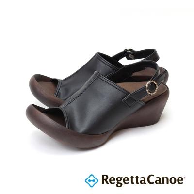 RegettaCanoe-復古大魚口 楔型樂步鞋-經典黑