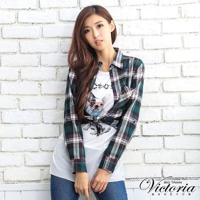 Victoria 鉚釘貼袋格紋襯衫-女-綠