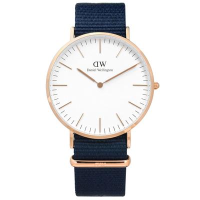 DW Daniel Wellington Classic尼龍手錶-白x玫瑰金x藍/40mm
