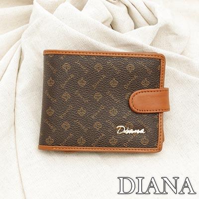 Diana Janes - 輕時尚經典款緹花真皮舌扣式零錢包短夾