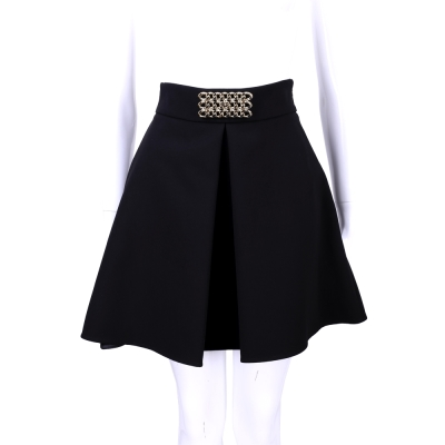 ELISABETTA FRANCHI 黑色金鍊飾抓摺及膝澎裙