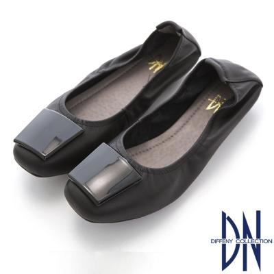 DN 簡約素雅 舒適幾何牛皮平底鞋-黑