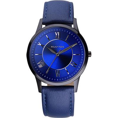RELAX TIME RT58 經典學院風格腕錶-藍/36mm