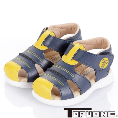 TOPUONE 舒適牛皮頂級超纖減壓學步涼鞋童鞋-藍(小童)