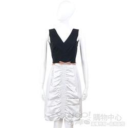MOSCHINO 銀灰色皺褶設計拼接無袖V領洋裝(不含腰帶)