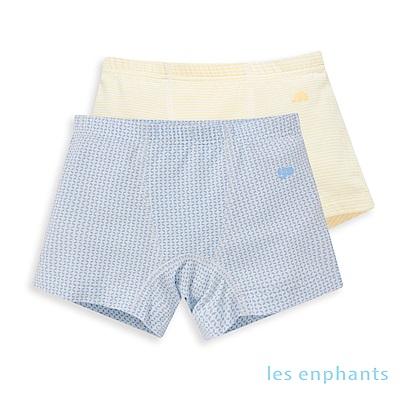 les enphants 冰牛奶幾何錢紋四角平口內褲二入組 (2色可選)