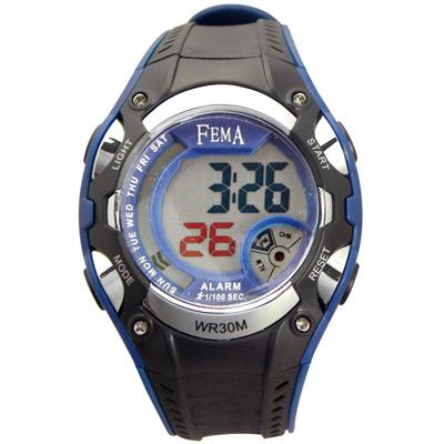 FEMA 粗曠造型 計時鬧鈴 數位運動錶(P332)-黑藍/42mm