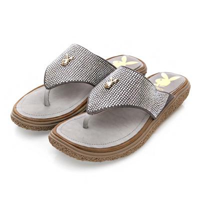 PLAYBOY輕奢時尚 滿版鑽飾厚底夾腳涼拖鞋-灰
