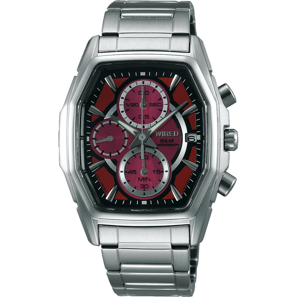 WIRED SOLAR 疾風飆速太陽能計時腕錶(AY9003X1)-紅/37mm