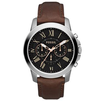 FOSSIL 扭轉科技三眼時尚腕錶-黑x咖啡色錶帶/44mm