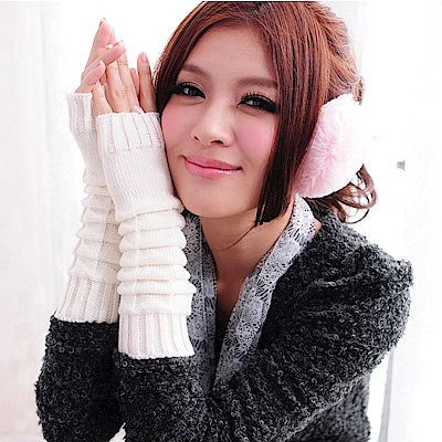 Aimee Toff 流行針織彈性伸縮織感手套(白)