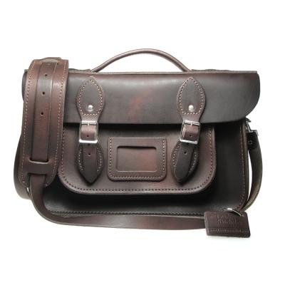 The Leather Satchel 英國手工牛皮劍橋包 肩背手提包 原色棕 12.5吋