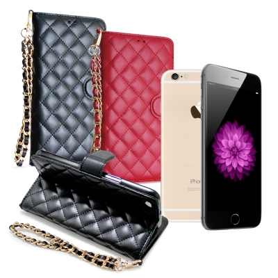 XM iPhone6 / 6s i6s 4.7吋 守候甜心菱格紋書本手機皮套