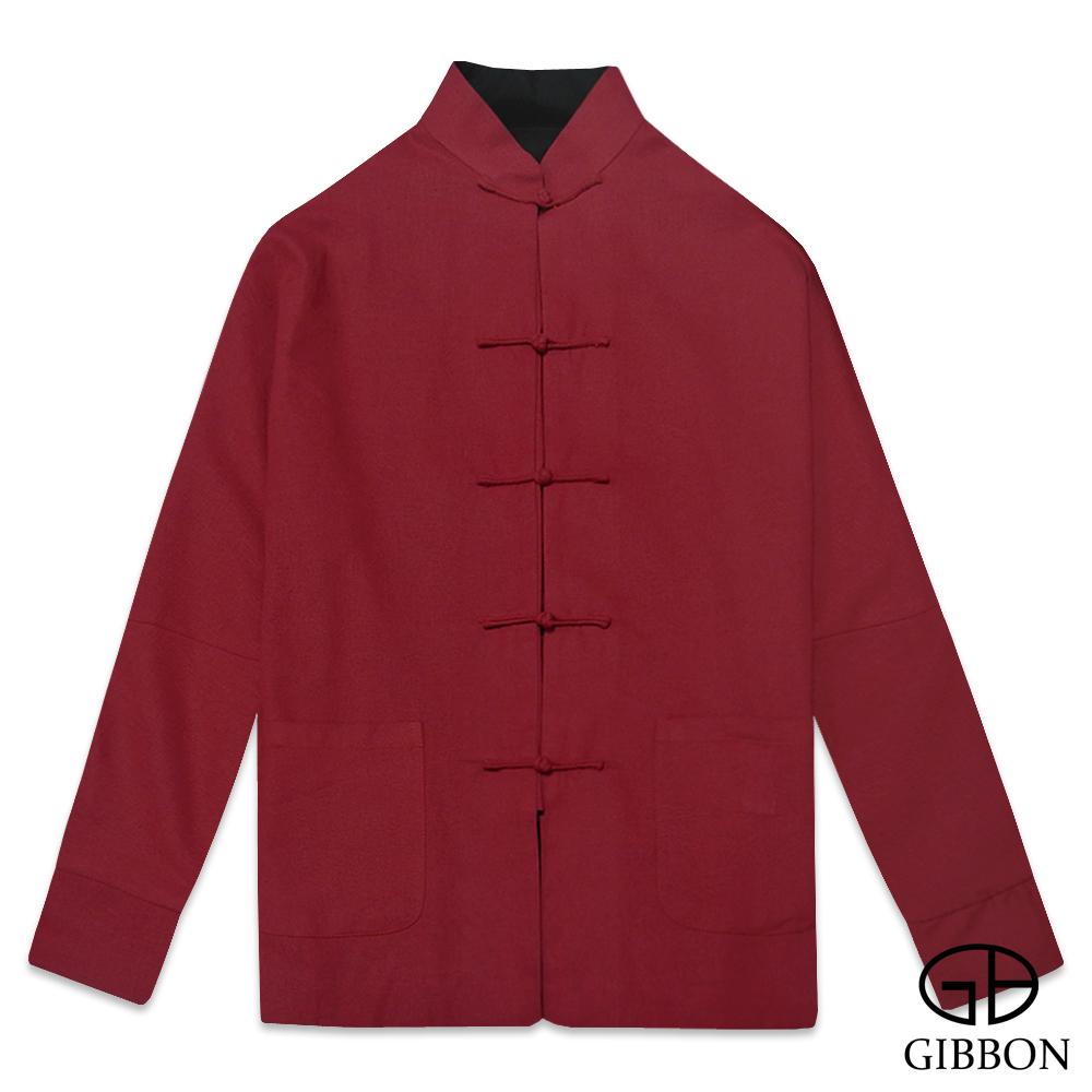 GIBBON 復古素色棉麻雙面長袖唐裝‧紅黑M~3L