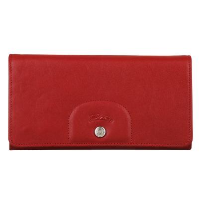 LONGCHAMP Le Pliage Cuir系列羊皮萬用長夾(紅)