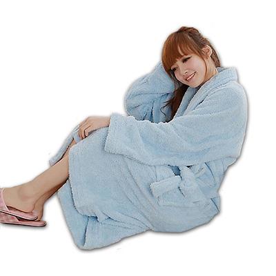 米夢家居 台灣製造水乾乾SUMEASY開纖吸水紗-柔膚浴袍(淺藍)