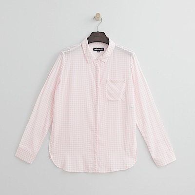 Hang Ten - 女裝 - 格紋寬版襯衫-粉紅色