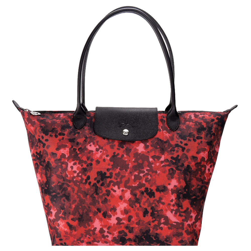 LONGCHAMP Le Pliage Neo Fantaisie迷彩長把水餃包(大/紅)LONGCHAMP