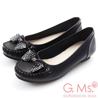 G.Ms. MIT系列-燙鑽蝴蝶結莫卡辛低跟鞋-黑色