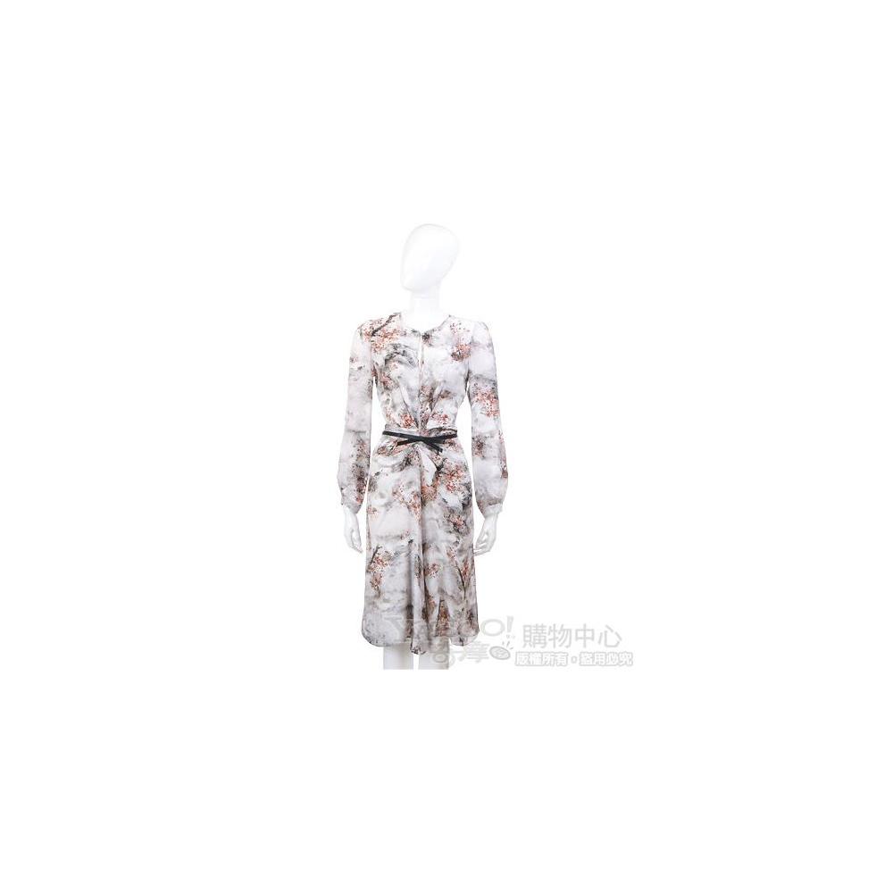 Max Mara 印花渲染復古圖騰長袖洋裝(淺灰色/含腰帶)