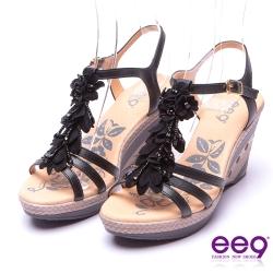【ee9】矚目焦點-精緻鏤空鑽飾花朵造型防水台楔型涼鞋*黑色