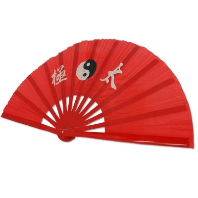 輝武 武術用品-全竹骨易開合-紅骨紅太極功夫扇(35CM長)-2把