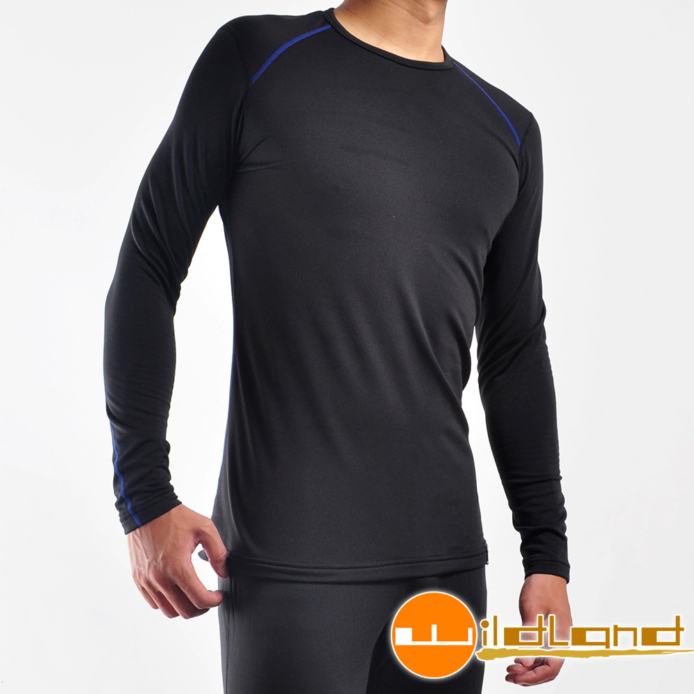 Wildland荒野 輕量銀離子抗菌保暖衛生衣 男 0A22666-54黑色
