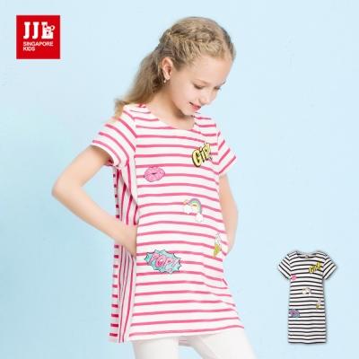 JJLKIDS 百搭條紋印花棉質長版T恤(2色)