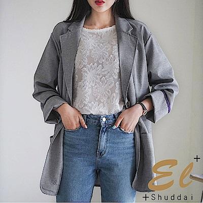 正韓 格紋寬版休閒西裝外套-(共二色)El Shuddai
