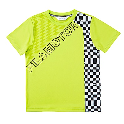 FILA KIDS 男童吸濕排汗上衣-綠黃 1TES-4432-LM