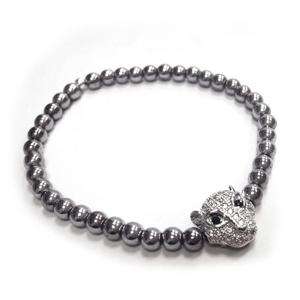 One of a kind 美洲豹手鍊 鑲白鑽 925純銀亮面珠珠 可彈性伸縮