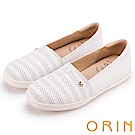 ORIN 引出度假氣氛 牛皮打洞後跟加厚平底便鞋-白色