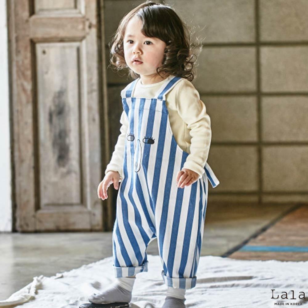 Lala韓國 藍白條紋熊熊條紋吊帶褲