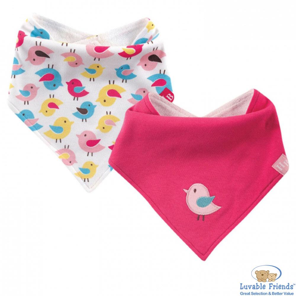 Luvable Friends 桃紅小鳥款領巾造型圍兜兜二件組