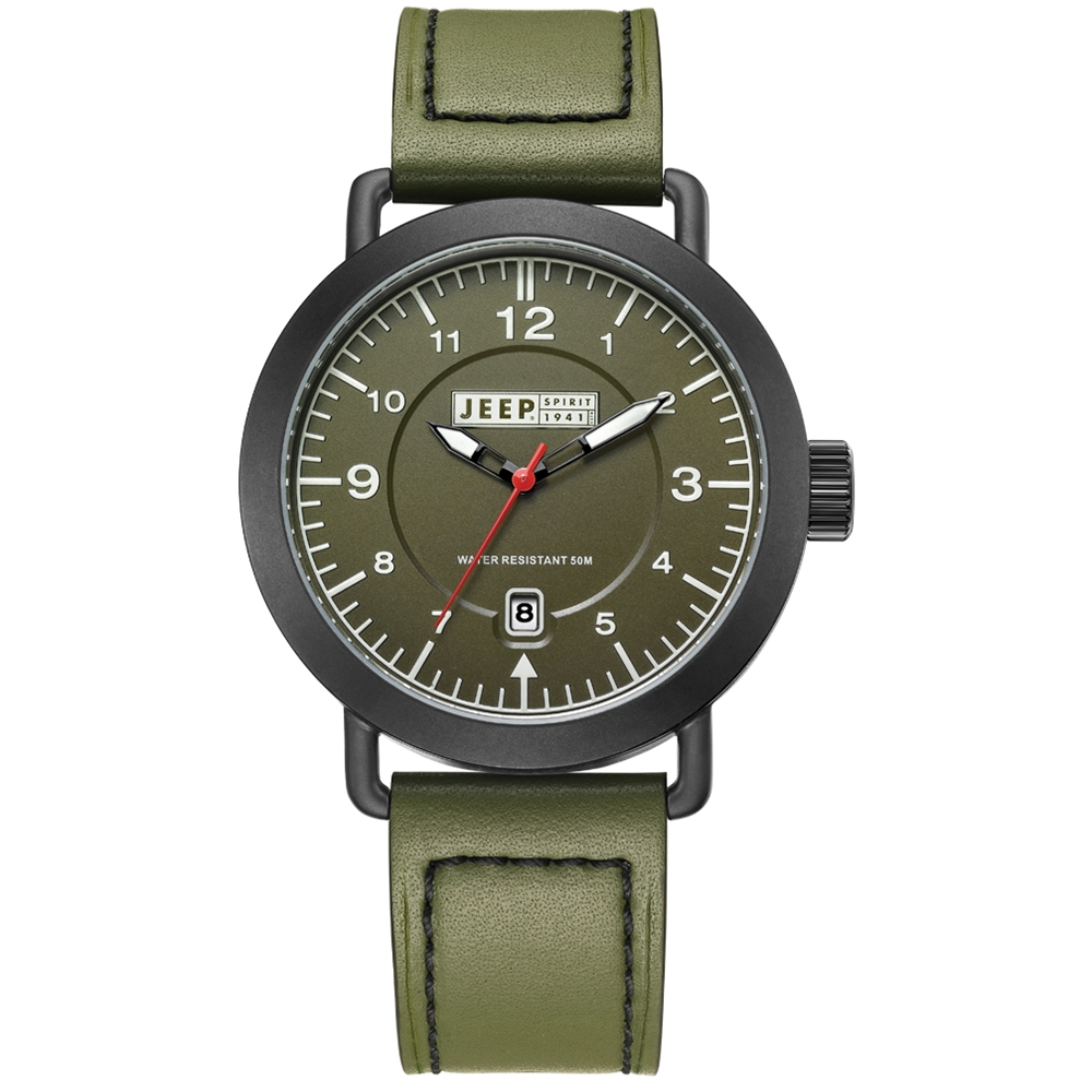 Jeep Spirit 單車時尚風運動休閒手錶-綠面/綠色帶-45mm