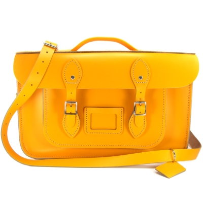The Leather Satchel 英國手工牛皮劍橋包 肩背後背包 繽紛黃 15吋