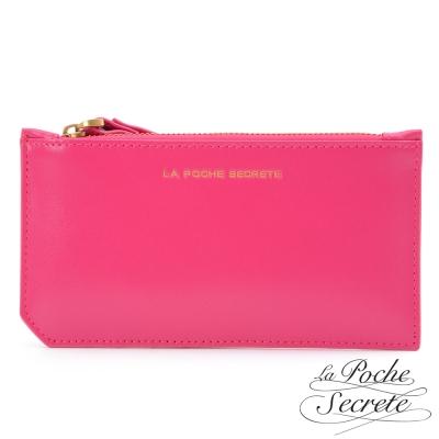 La Poche Secrete真皮 簡約真皮實用卡夾零錢手拿包-甜美桃