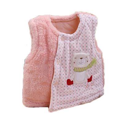 圍巾熊厚鋪棉絨毛保暖背心 粉 k60032