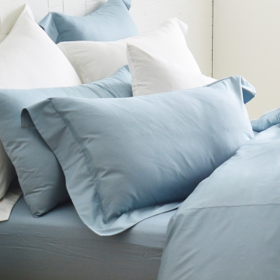 Cozy inn 簡單純色-灰藍-200織精梳棉枕頭套-2入