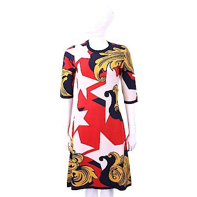 PINKO 星星幾何圖騰紅色薄針織洋裝