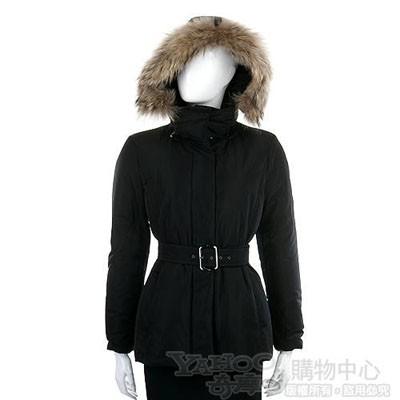 MARELLA 黑色皮草飾邊連帽外套(附腰帶)