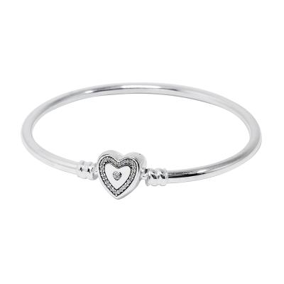 Pandora 潘朵拉 硬環愛心釦鑲鋯 925純銀手環